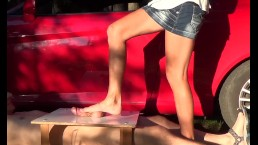 CBT trampling with beautiful feet of sexy girl