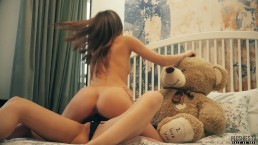 Lesbian roommates strapon dildo sex and teddy bear fuck, facial cum swap