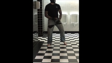 masked tattooed barefoot guy in torn jeans cums in public bathroom