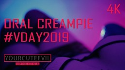 #VDAY2019 ORAL CREAMPIE Valentine's Day, BLOWJOB with SYNTHWAVE 4K