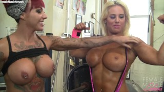 Two Muscle Lesbains Say Its Girl-Girl Gym Day, And They're Being Bad Girls!