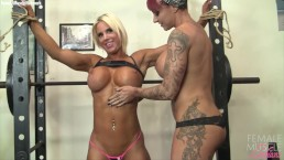 Two Muscle Lesbians Workout and Play Together. Big Tits, Tattoos, and Pussy