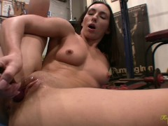 Sexy Fitness Model Stretches, Fucks Herself