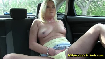 Masturbating in a Public Parking Lot with Yellow Panties