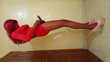 Sissy Caught In Sexy Fishnets By Mistake