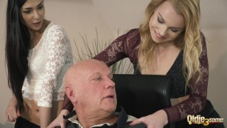 Old manager at the office fucks his two beautiful assistants tight pussy