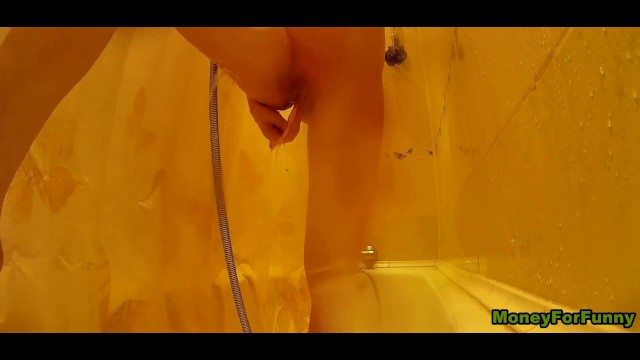 Young Beauty Shaved Pussy in the Shower. Quick Orgasm. Hidden Camera