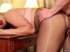 Tgirl Alina pantyhose sex with fan and cum hard