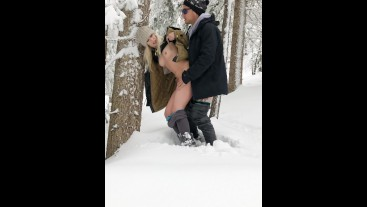 Blonde Gets Fucked in the Snow