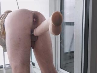 Huge DIldo Ass Fuck 30x8cm daily slut training with neighbours watching