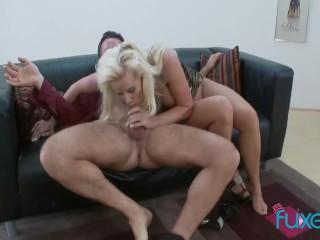 Blonde MILF sucks dick