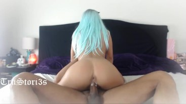 Amateur Teen Bunny gets her pussy a creampie by ebony big Dick (BBC)