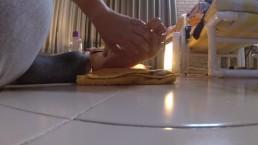 Amateur Femdom Foot Torture and Tease Handjob