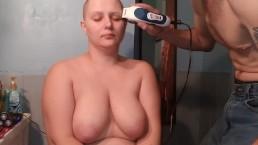 Bald girl getting reshaved naked