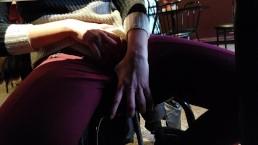 Teen slut masturbate under the table in PUBLIC at restaurant