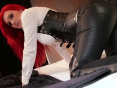 POV Wank over Tight Leather Dominatrix Skintight Corset Roxi Keogh