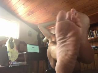 Mature Man shows his feet