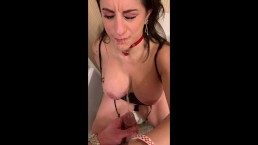 36DDD MILF Gets Pissed On Mouth And Boobs In Hotel Bathroom