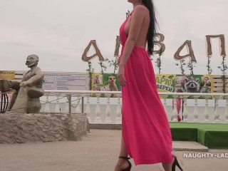 My sex red dress is perfect to flashing in public