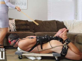 Hogtied, whipped, and caned on feet by Asian Femdom An Li bastinado