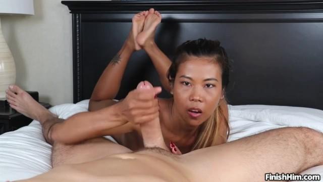 Ultimate Handjob – Little Asian Girl Gets SPLATTERED with CUM