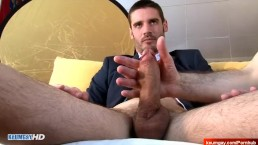 French Str8 in suit salesman serviced in a gay porn in spite of him