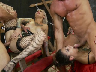 Pawg Car Wash Crazy double penetration foursome with Bonnie Rotten and Kleio Valentien