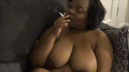 natural ebony girlfriend topless smoking fetish