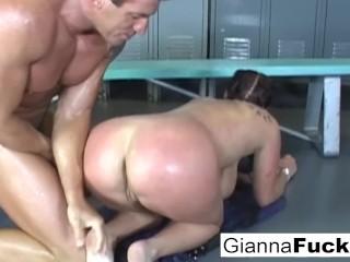 Freshly showered Gianna gets fucked in the locker room