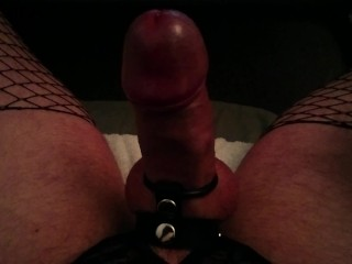 Kinky Guy In Lingerie Playing With His Big Red Hot Cock
