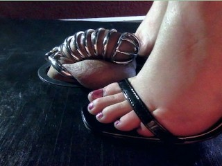 Chastity Cage Release Cockbox Footjob & Toejob With Big Creamy Cumshot