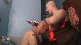 Clipper Shaving husband bald