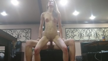 Russian sauna bitch Realdaddysangel gives hot bj and fucked by 2 cocks