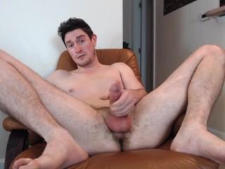 Naked & spread stud blasts massive cumshot