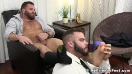 Hairy hunk Riley masturbation during foot worship