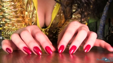 Shiny Red Manicured Natural Long Nails Tapping and ASMR sounds hand fetish