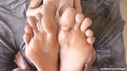 Beautiful PrettyEvil feet soles covered in cum. Hot amateur POV footjob 4k