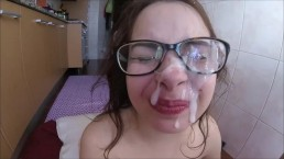shy teen first facial , cumshot on glasses & feet fetish