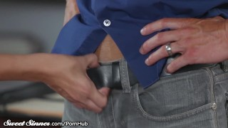 SweetSinner Passionate Hot Sex With Her College Prof. Reverse blowjob