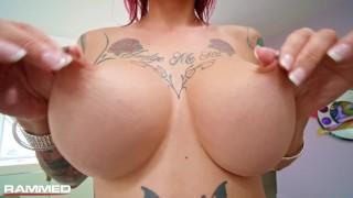 Rammed - Tattooed Anna Bell Peaks threesome fuck fest