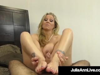 Cock Craving Cougar Julia Ann Gives Lucky Cock Handjob & BJ!
