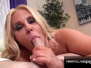 Picture of Hot Chubby MILF sucking a monster cock, Karen Fisher - FirstClassPOV