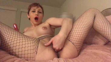 MASTURBATING WITH PINK TOY IN FISHNET PANTYHOSE WATCH MY CUM
