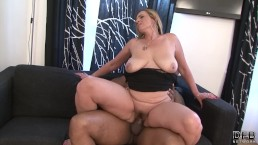 Hairy pussy granny gets interracial fucked by big black cock and takes cum