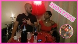#VDAY2019 - Ebony MILF & White Muscular Stud Romantic Dinner & Fuck