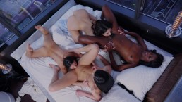 Amazing orgy party 4 tiny girls & 1 lucky guy