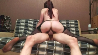 REDHEAD TEEN IN LINGERIE RIDES A FRIEND'S DICK - AMATEUR COWGIRL RIDING