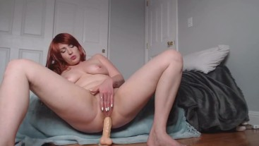 Stretching my tight holes with a 12 inch dildo