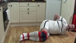Tightly bound and gagged on kitchen floor escape challenge PART 1 OF 2