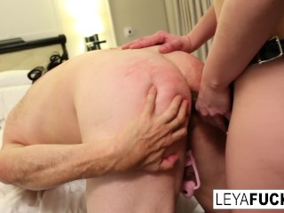 Leya Falcon balls busts then pegs Sissy Jessica in her 1st anal